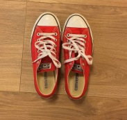 My personal favorite addition to any outfit, Converse! Love the bright red to bring a little extra pop to the outfit!