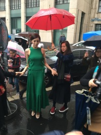 Spotted! Actress, Dee Hsu outside of Salvatore Ferragamo Milan show.