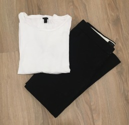 J. Crew black pants and white long sleeve t-shirt