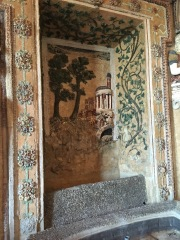 The mosaics that covered the fountain inside of the villa.