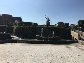 The fountains outside of the Villa.