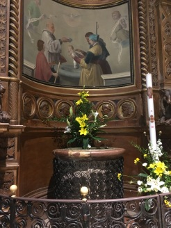 The baptismal font where St. Claire and St. Francis of Assisi were baptized.