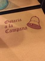 The menu at Ostaria a la Campana.